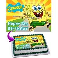 Spongebob Squarepants Cake Image Personalized Topper Edible Image Cake Topper Personalized Birthday 1/4 Sheet Decoration Party Birthday Sugar Frosting Transfer Fondant Image Edible Image for cake
