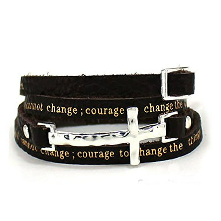 Serenity Prayer Leather Wrap Bracelet With Cross AA Al anon 12 - Prayer Box Bracelet