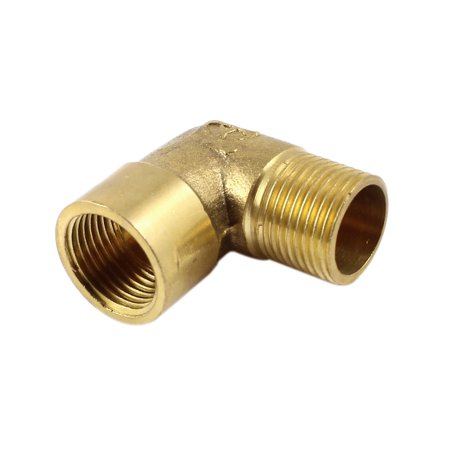 Metal 3/8 PT Male to 3/8 PT Female Equal Pipe Elbow Fitting Adapter Brass Tone Hide A-line Adapter Fitting