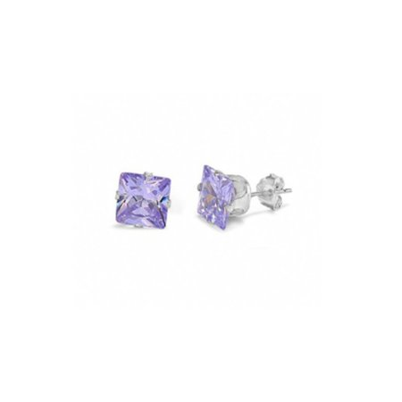 iParis 14k White Gold Over Sterling Silver 1 Ct Princess Purple Topaz Stud - Mrs Earrings
