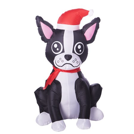 Boston Terrier Christmas - Inflatable Boston Terrier, 3.5 Feet