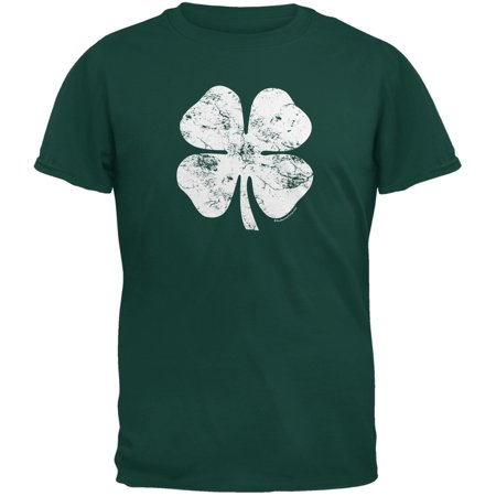 St. Patricks Day - Distressed Shamrock Forest Green Youth T-Shirt (Youth Large Forest Green)
