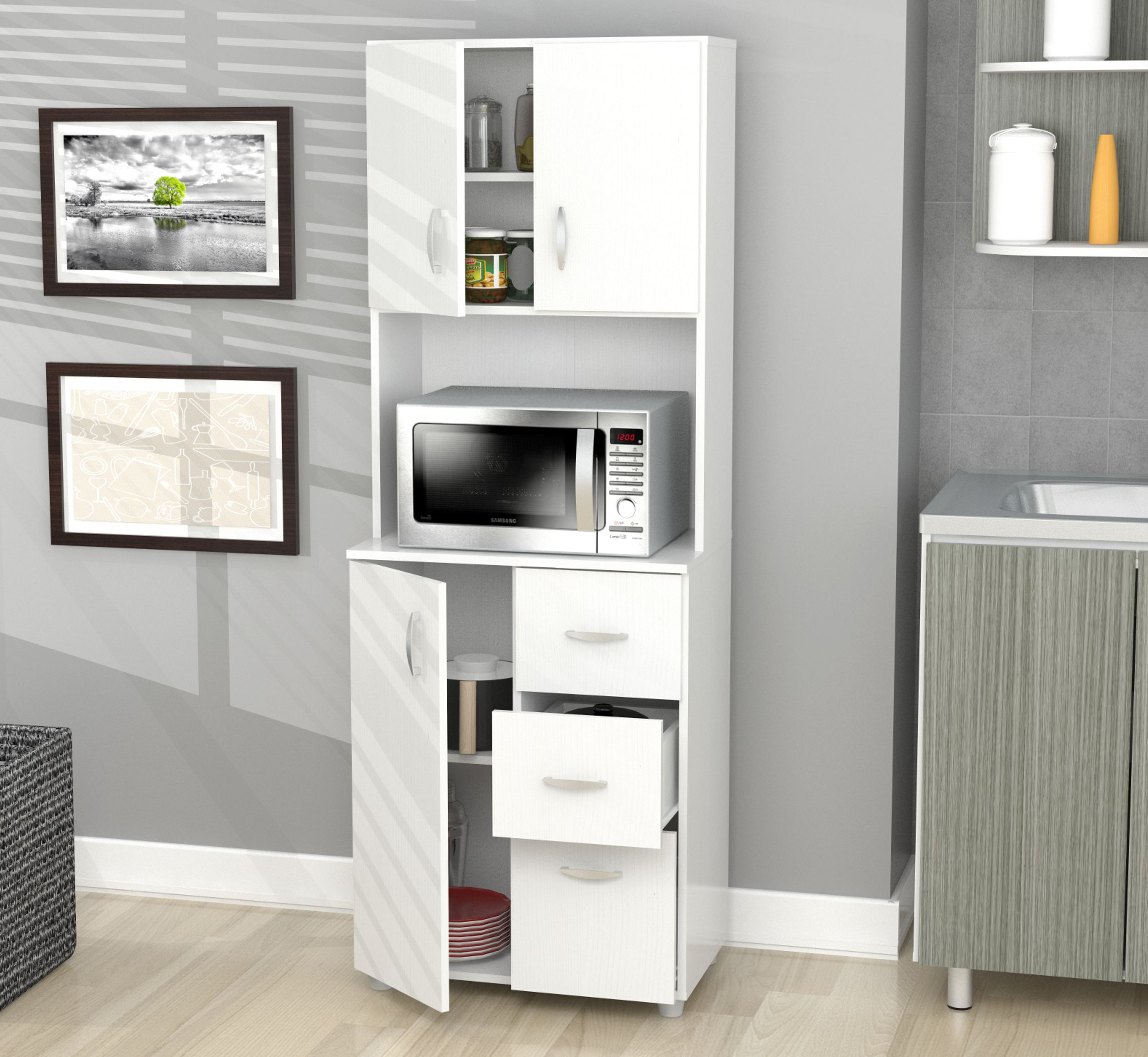 Inval Contemporary Laricina-white Kitchen Storage Cabinet