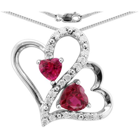 Heart 2 Heart 1 10 Carat T W  Diamond Sterling Silver Floating Pendant With Chain