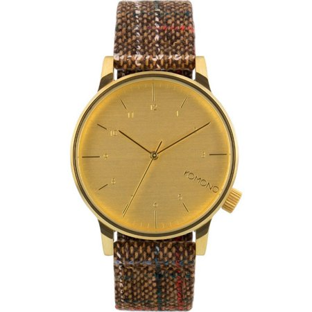 0be15a5de Komono - Mens Winston Tweed Brown Analog Stainless Watch - Brown Leather  Strap - Gold Dial - KOM-W2301 - Walmart.com