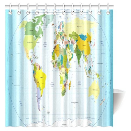 MYPOP World Map with Countries and Capital Cities of the Earth with Oceans and Lakes Graphic Art Fabric Bathroom Shower Curtain Set with Hooks, 66 X 72 (World Map With Capital Cities And Countries)