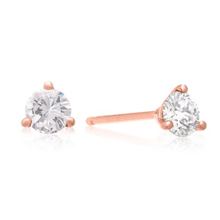 1/2 Carat Diamond Martini Stud Earrings In 14 Karat Rose Gold