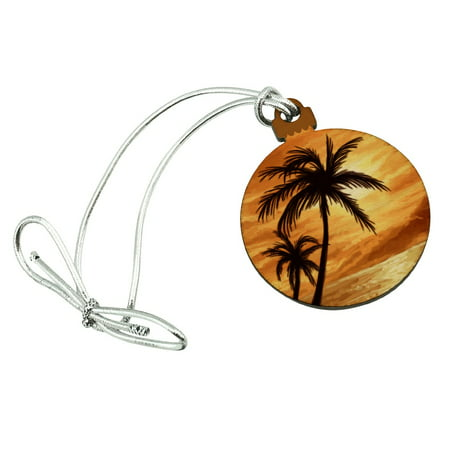 - Sunset on Tropical Beach with Palm Trees Hawaii Orange Mini Small Tiny Wood Christmas Tree Holiday Ornament