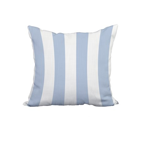 Blue Marlin Pillow (18 x 18 Inch Rugby Stripe Blue Stripe Print Decorative Polyester Throw Pillow with Linen Texture)