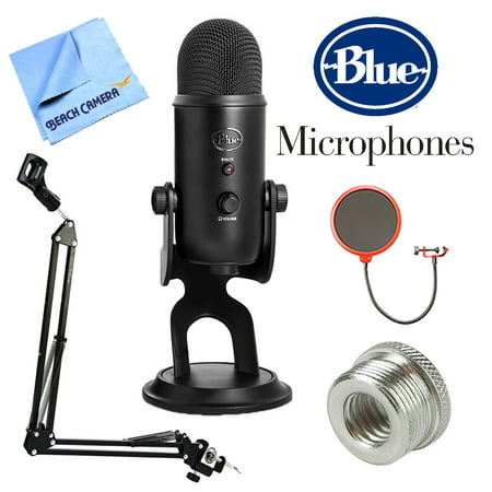 Blue Microphones Yeti Professional USB Desk Microphone - Blackout (BLACKOUTYETI) + Suspension Boom Scissor Arm Stand + Pop Filter Microphone Wind Screen + Mic Stand Adapter + MicroFiber