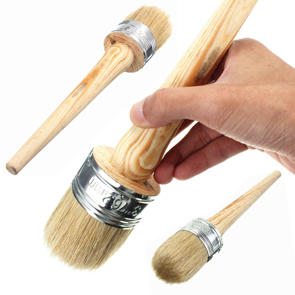 50mm Dia Wax Paint Wooden Handle Round Bristle Chalk Oil Painting Paint Brush