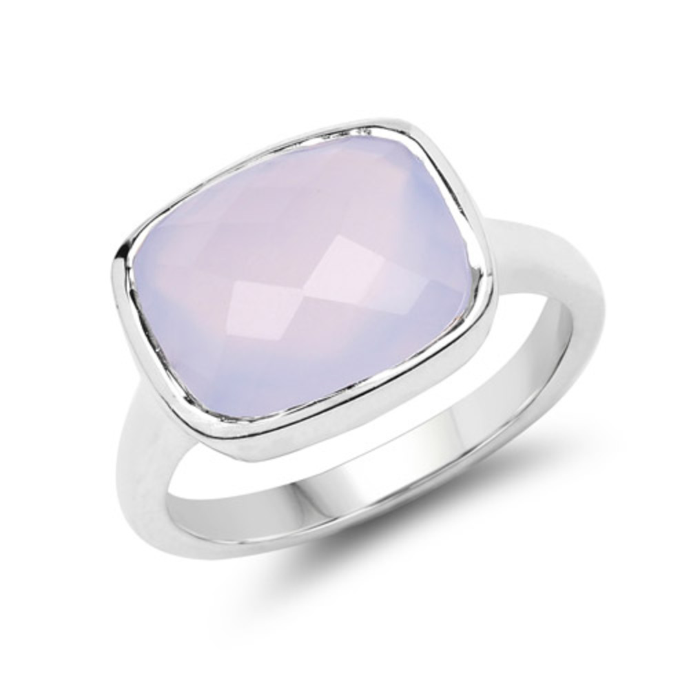 Genuine Cushion Blue Chalcedony Ring in Sterling Silver Size 9.00 by Bonyak Jewelry