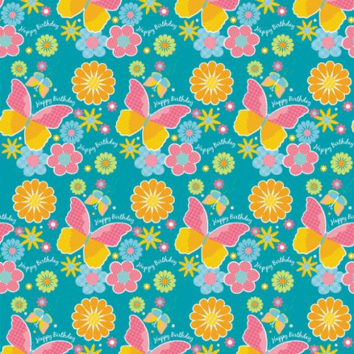 """Printed Gift Wrap 30"""" Wide 5 Foot Roll-Birthday Butterfly"""