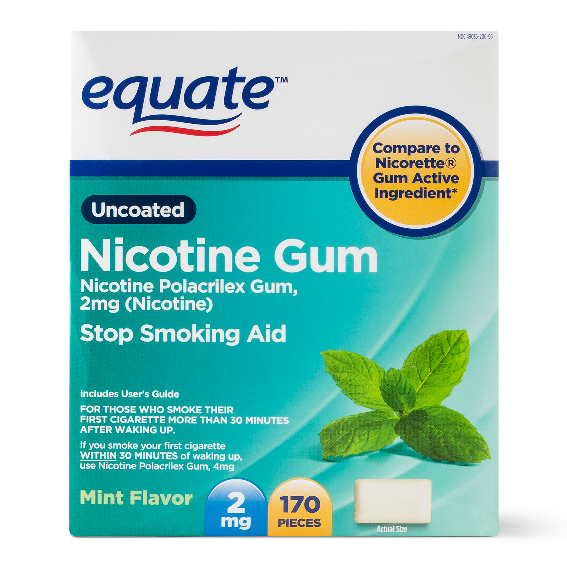 Equate Uncoated Nicotine Gum, Mint Flavor, 2 mg, 170 Count