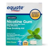 Equate Uncoated Nicotine Gum, Mint Flavor, 2mg, 170 Pieces