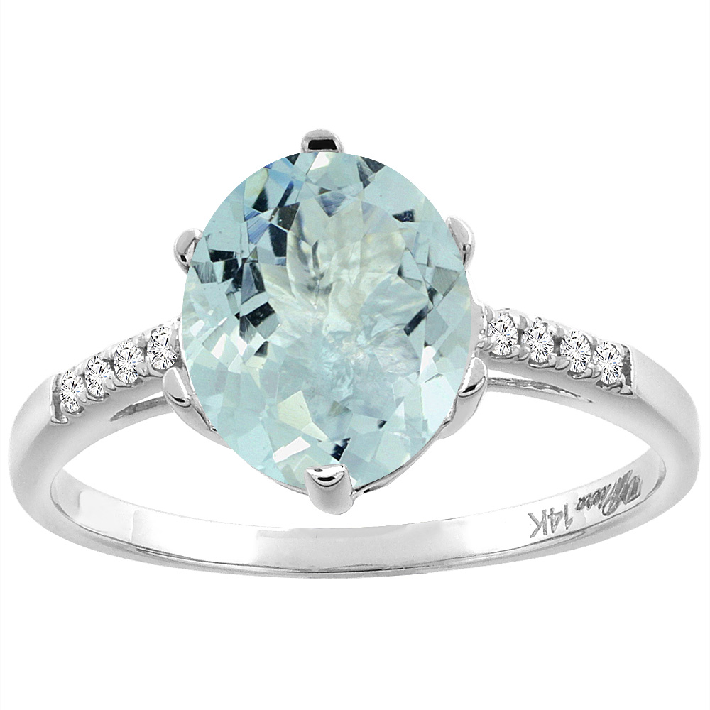 14K White Gold Natural Aquamarine & Diamond Ring Oval 10x8 mm, sizes 5-10 by WorldJewels
