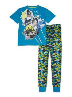 Sleep On It Boys 6-14 Joggers with Short Sleeve, 2-Piece Pajama Set
