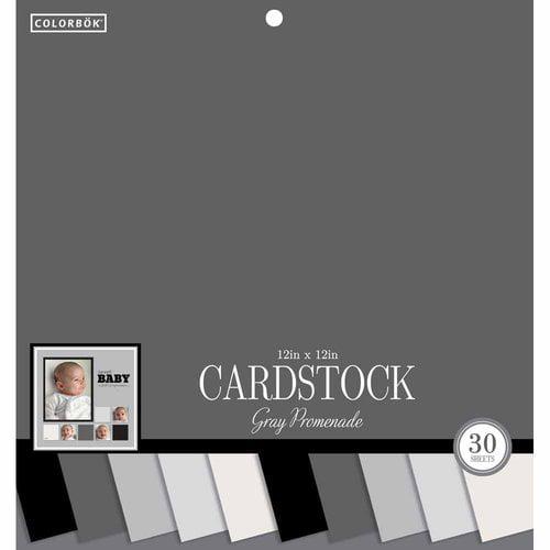 """Colorbok 12"""" Smooth Gray Promenade Cardstock, 30 Count"""