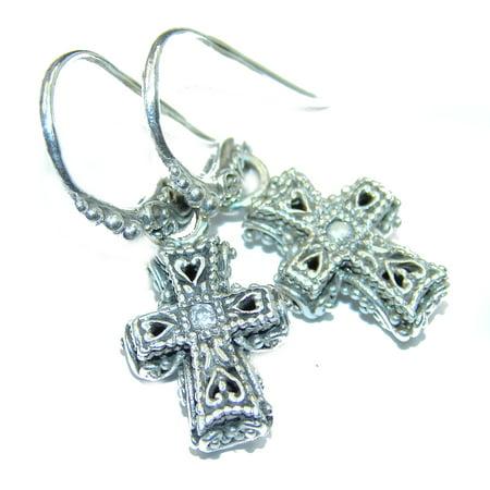Holy Cross   .925 Sterling Silver handmade earrings by SilverRush Style