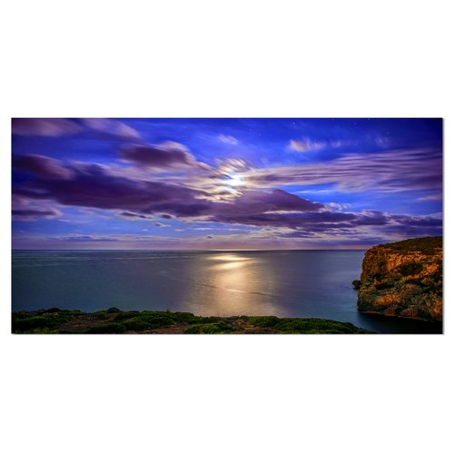 Design Art Moon Reflecting in Blue Sea Photographic Print on Wrapped Canvas
