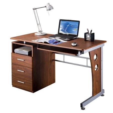 Techni mobili computer desk w storage in mahogany for Mobili computer