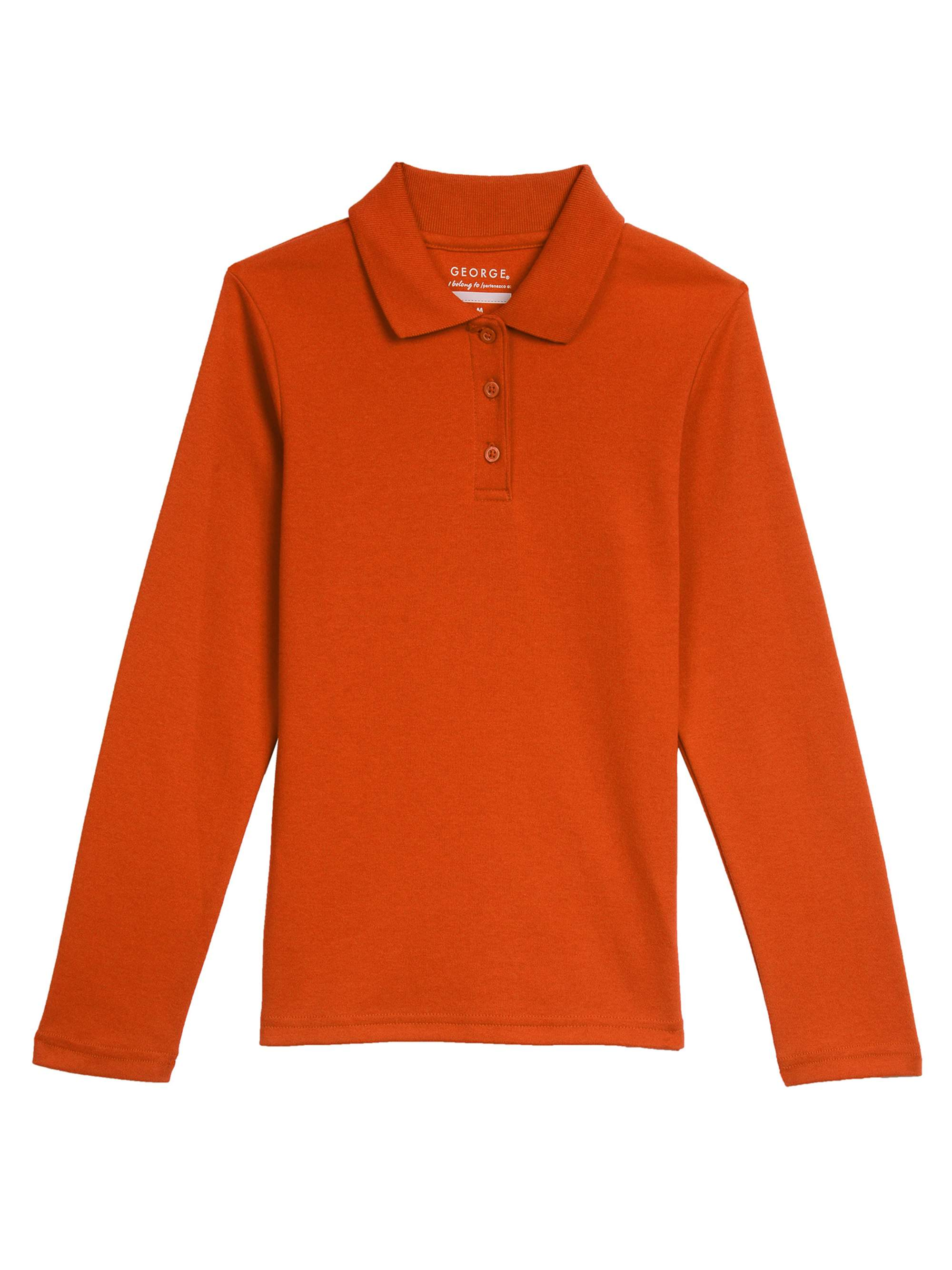 Girls' School Uniform Long Sleeve Polo Shirt