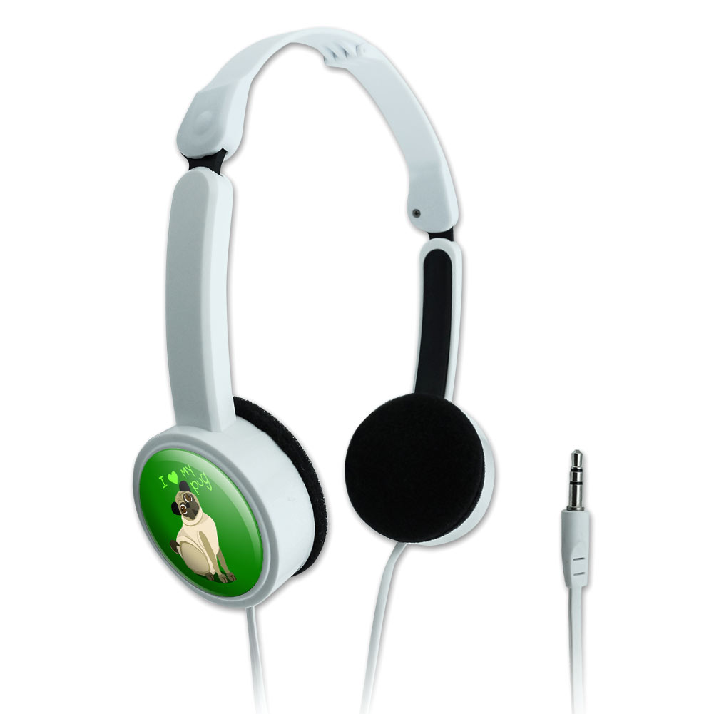 I Love Heart My Pug Standard Green Dog Pet Novelty Travel Portable On-Ear Foldable Headphones