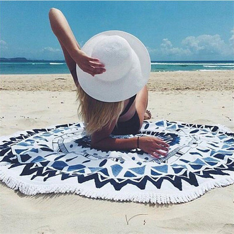 Bohemian Mandala Round Beach Blanket, Tapestry Hippie Throw Yoga Mat, Towel Indian Woven... by