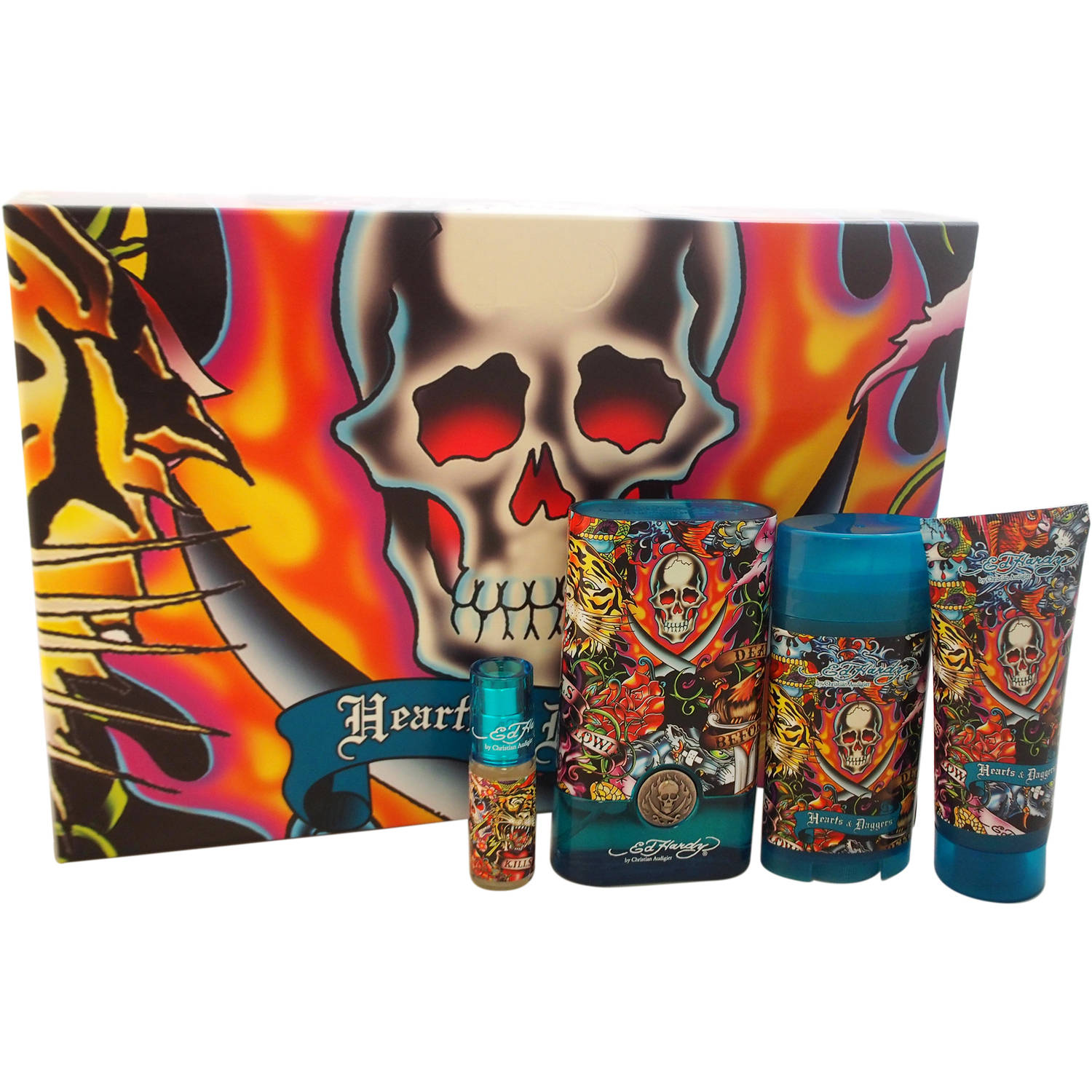 Christian Audigier Ed Hardy Hearts & Daggers for Men Fragrance Gift Set, 4 pc
