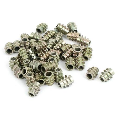 M4x10mm Zinc Plated Hex Socket Screw in Thread Insert Nut 50pcs for Wood - image 1 de 1