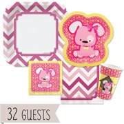 Girl Puppy Dog - Party Tableware Plates, Cups, Napkins - Bundle for 32