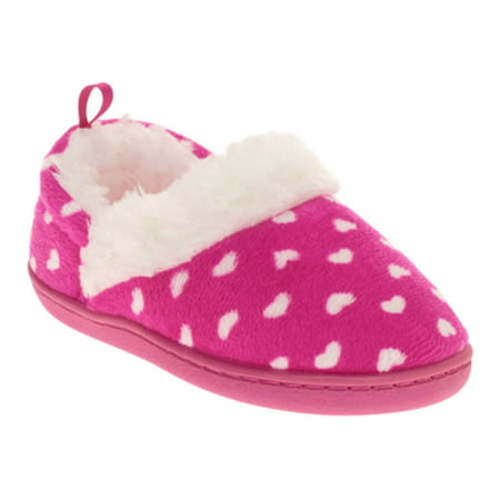 Toddler Girls Pink Heart Print Polka Dot Aline Loafer Style Slippers House Shoes](The Glass Slipper Boston)