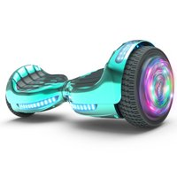 "Flash Wheel UL 2272 Certified Hoverboard 6.5"" Bluetooth Speaker with LED Light Self Balancing Wheel Electric Scooter - Chrome Turquoise"