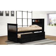 Twin Black Captain's Bookcase Bed with Storage