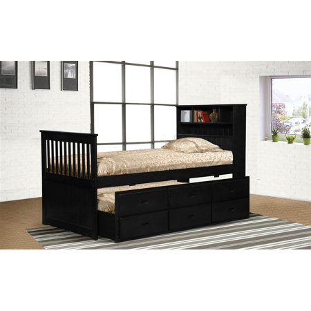 twin black captain 39 s bookcase bed with storage. Black Bedroom Furniture Sets. Home Design Ideas