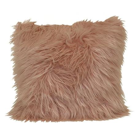 "Better Homes & Gardens Angora Faux Fur Decorative Pillow, 18"" x 18"", Pearl Blush"