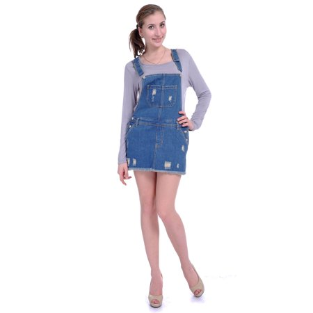 Women Juniors Fashion Adjustable Shoulder Straps Blue Denim Overall Dress