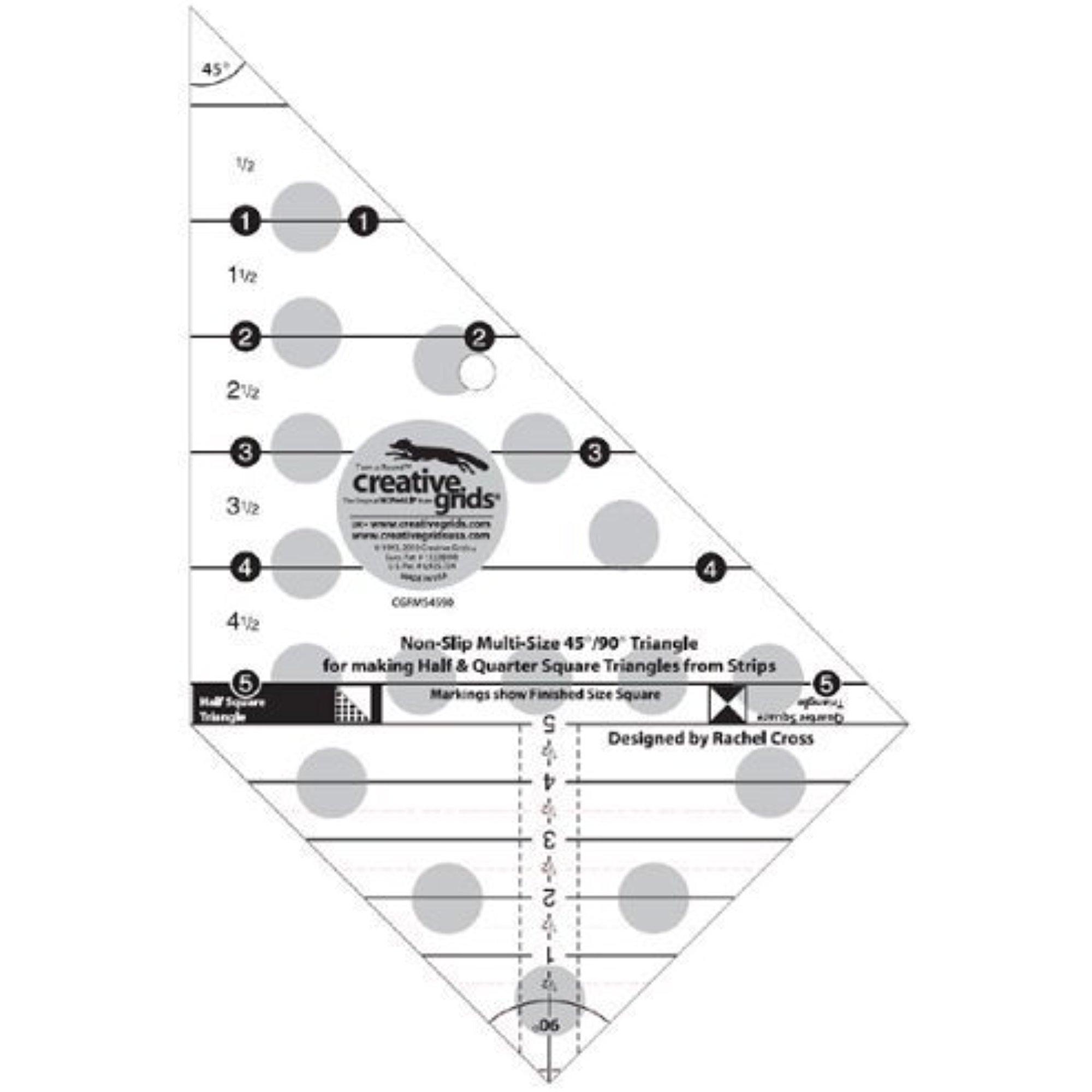 Creative Grids Multi-size 45ᄚ & 90ᄚ Triangle Ruler