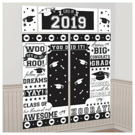 Graduation Class of 2019 Scene Setter White Wall Backdrop Party Decoration Grad (Halloween Room Scene Setters)