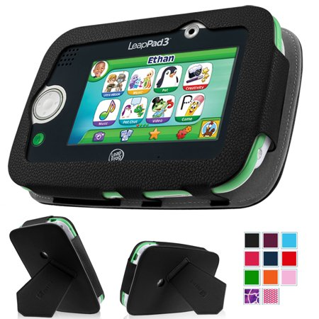 LeapFrog LeapPad3 Kids' Learning 5-Inch Tablet Case - Fintie Premium Vegan Leather Standing Carrying Cover, Black
