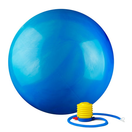 2000lbs Static Strength Exercise Stability Ball with Pump Multi-Colored, 55cm Blue ()
