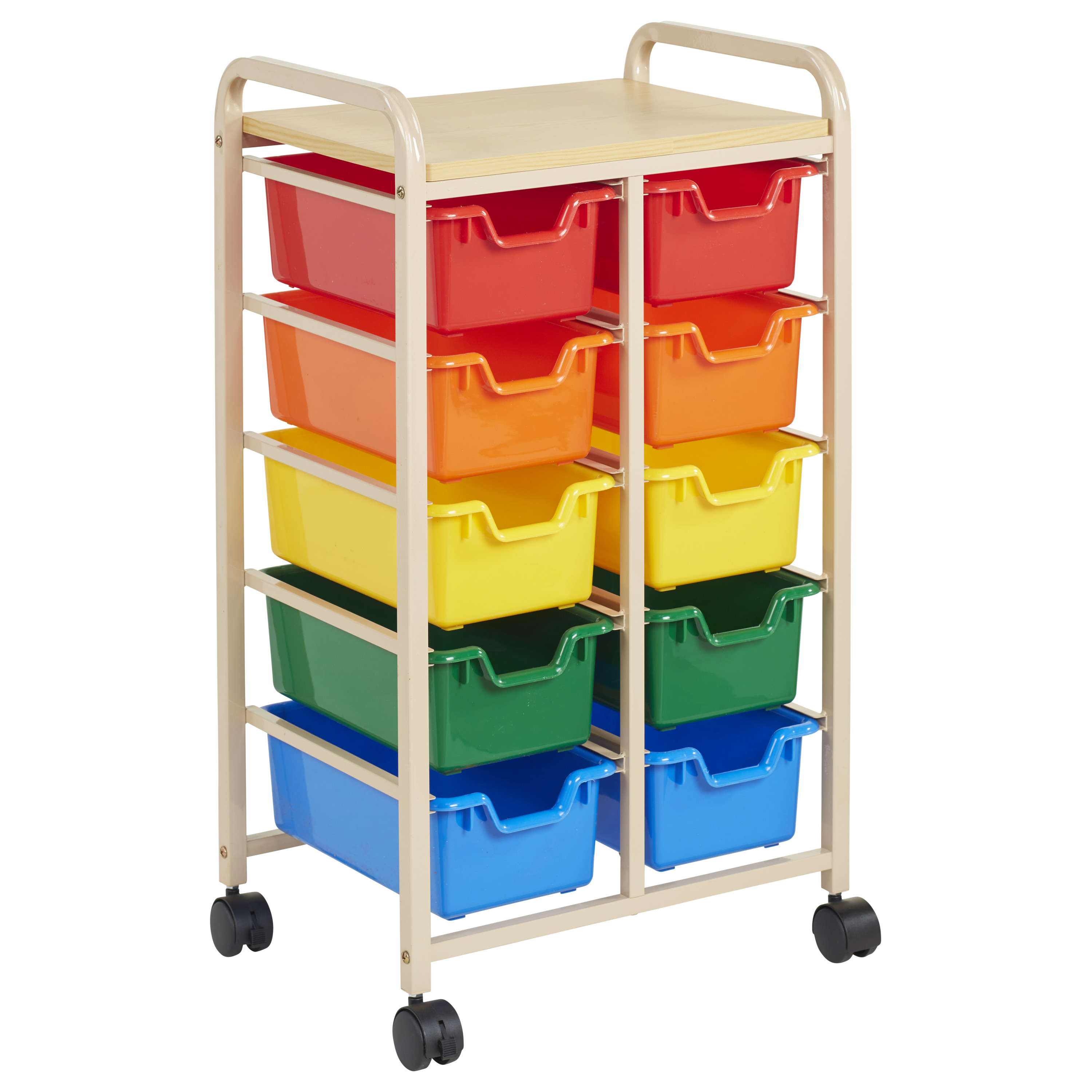 10-Bin Mobile Organizer Sand - Assorted Bins
