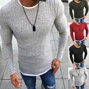 Mens Winter Slim Turtleneck Nice Sweater Round Neck Warm Jumper Casual Pullover Red Size L