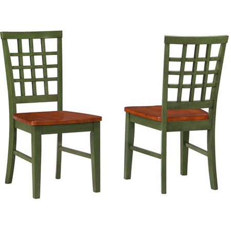 Imagio Home Arlington Lattice Back Dining Chairs  Set Of 2  Green And Java