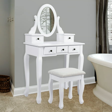 Bathroom Vanity Table Jewelry Makeup Desk Hair Dressing Organizer ...