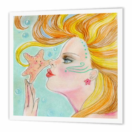 3dRose Soft pastel ocean Mermaid with flowing hair gets a kiss from sweet starfish, Iron On Heat Transfer, 8 by 8-inch, For White