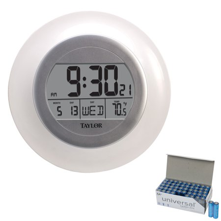 Taylor 1750 Atomic Wall Clock With Thermometer & UPG AA 50 Pack ()