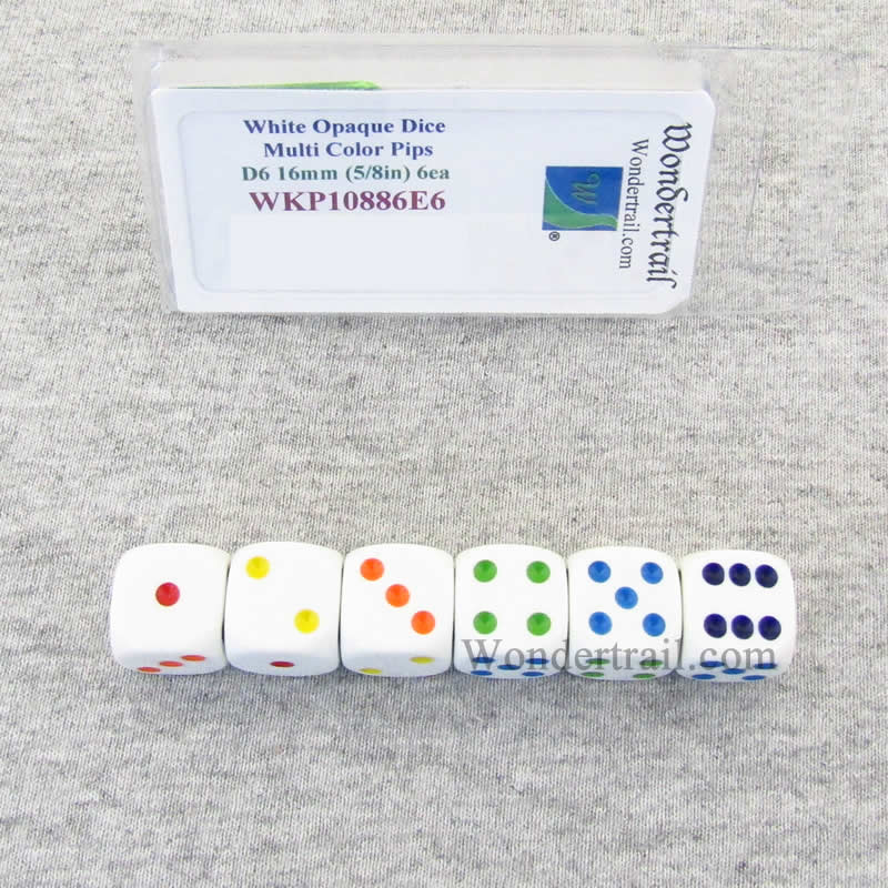 White Opaque Dice with Multi Color Pips D6 16mm (5/8in) Pack of 6 Wondertrail