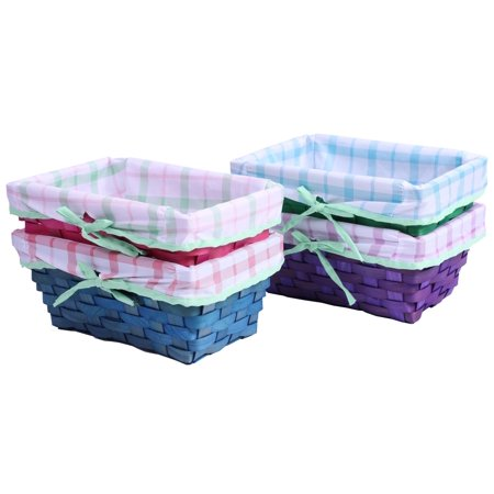 Set of 4 Color Painted Wooden Shelf Storage Baskets with Patterned Lining and Bow