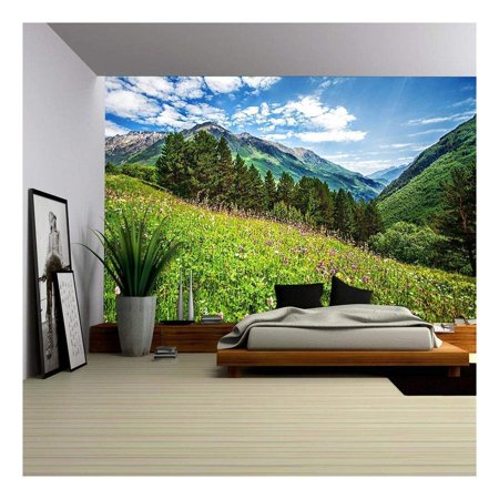wall26 - Beautiful Meadow on Cheget Mount. Bright Pink Flowers on a Mountains Field - Removable Wall Mural | Self-adhesive Large Wallpaper - 100x144